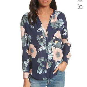 Joie Silk Amarant Bella Navy Floral Blouse Top S
